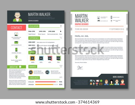 cv layout template candidate education job のベクター画像素材