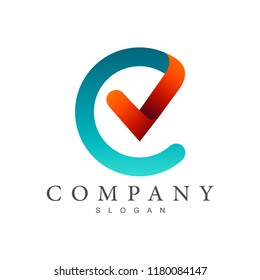 CV logo, letter c and letter v logo design, letter c with checklist symbol