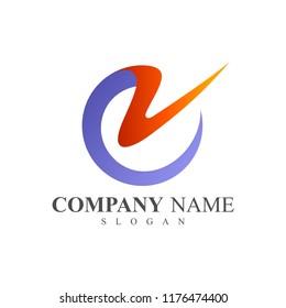 CV logo, VC logo, Letter C and Letter V logo Design