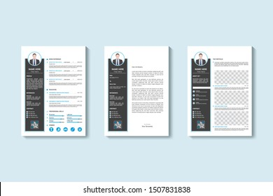 CV / resume cover letter and portfolio page template. Super clean and clear modern design. black and blue design
