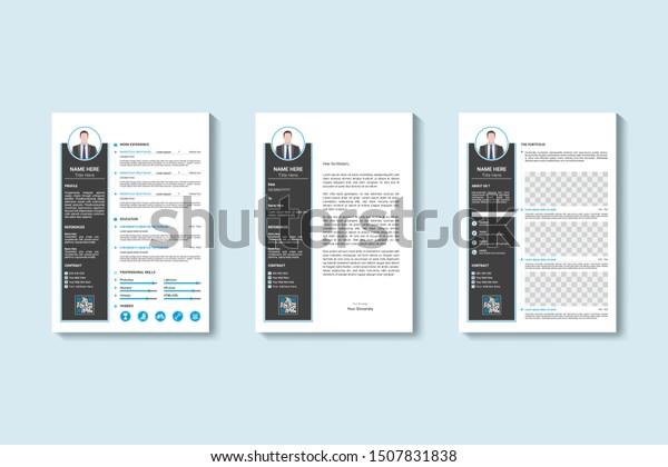 Cv Resume Cover Letter Portfolio Page Stock Vector Royalty