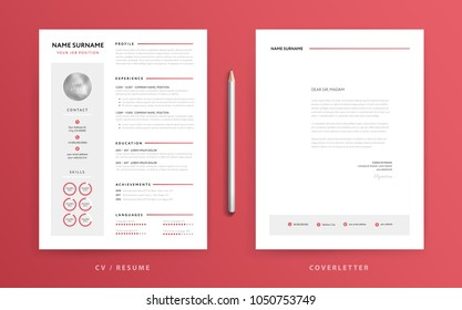 CV / resume and cover letter template. Super clean and clear modern design. Red background and design elements