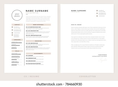 CV / resume and cover letter template - elegant stylish design - beige color background vector