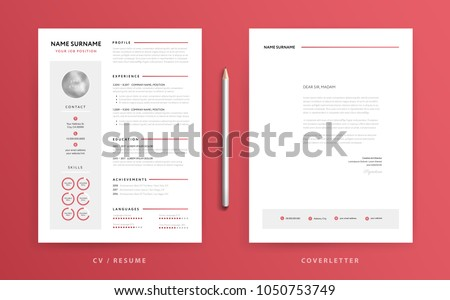 CV Resume And Cover Letter Template Super Clean Clear Modern Design Red