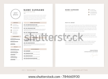 Resume With Cover Letter | Cv Resume Cover Letter Template Elegant Stock Vektorgrafik