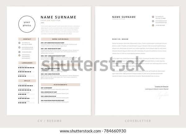 Cv Resume Cover Letter Template Elegant Stock Vektorgrafik