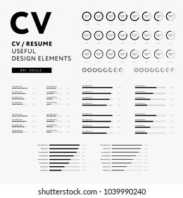 CV Resume design elements set - Skills icons minimal vector - black and white infographics