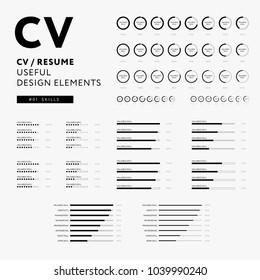 CV Resume design elements set - Skills icons minimal vector - black and white infographics