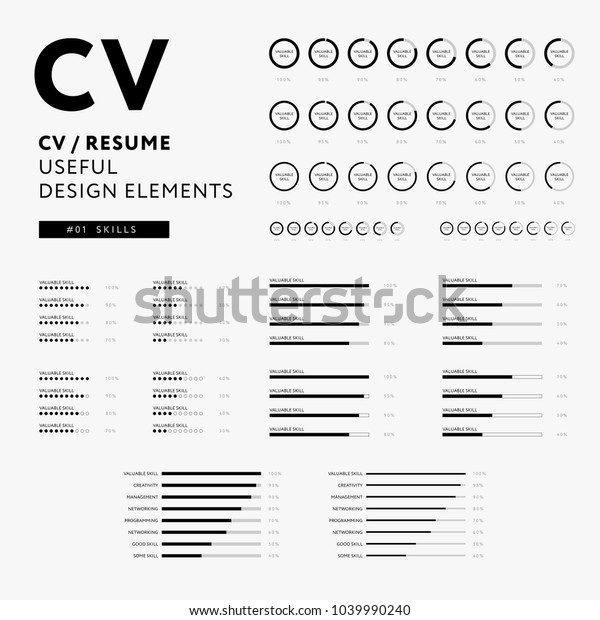 cv resume design elements set skills stock vector  royalty