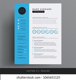 CV / resume design template blue color minimalist vector cv - modern curriculum vitae design