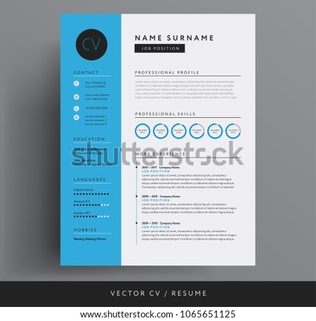 cv resume design template blue color stock vector royalty free