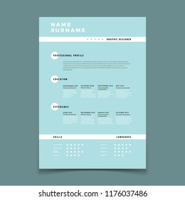 Cv resume. Employment application form with job description vector template. Mockup curriculum vitae, interview resume with qualification skill illustration