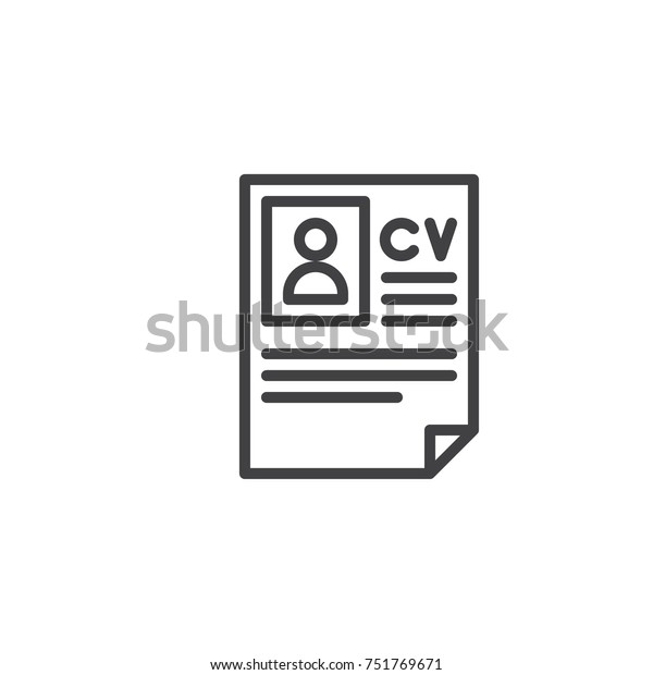 Cv Resume Line Icon Outline Vector Stock Vektorgrafik