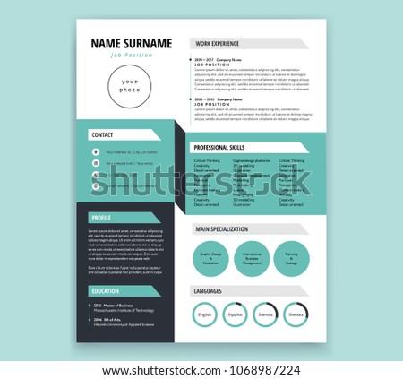 CV Resume Template Design Cool 3 D Stock Vector Royalty Free