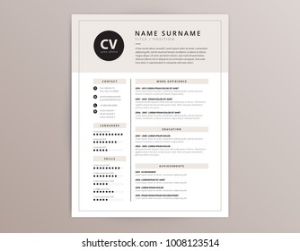 CV / resume template - elegant stylish design - beige color background vector
