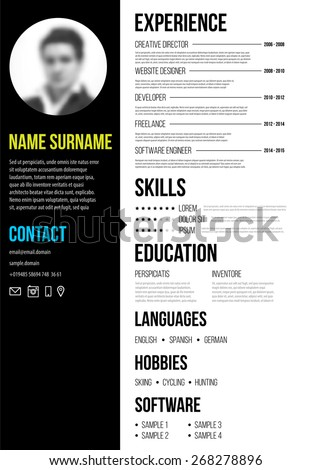 cv resume template minimalistic style business stock vector royalty