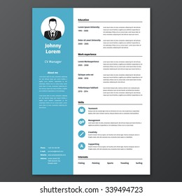 CV, Resume Template, Vector Graphic Layout, For Unemployed Or For  Freelancers   Blue