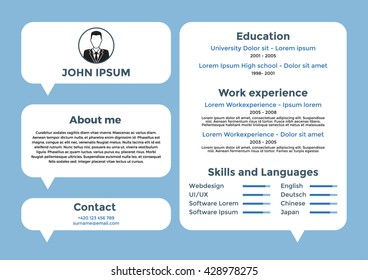 CV, resume template, vector graphic layout, for unemployed or for freelancers - blue color