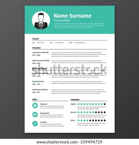 CV Resume Template Vector Graphic Layout