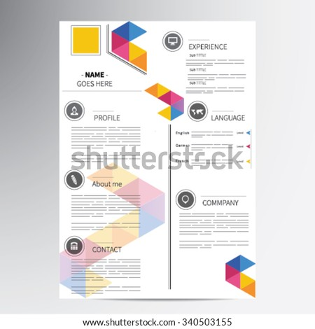 cv resume template vector graphic layout のベクター画像素材