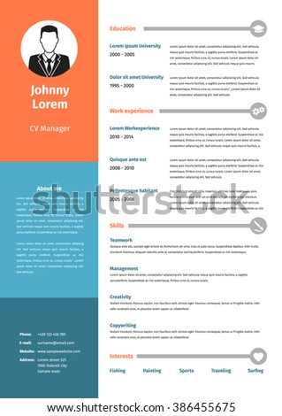 CV Resume Template Vector Graphic Design Layout