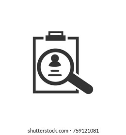 CV review icon. Business, human resource sign. Looking for talent. Search man vector icon. Job search icon on white background