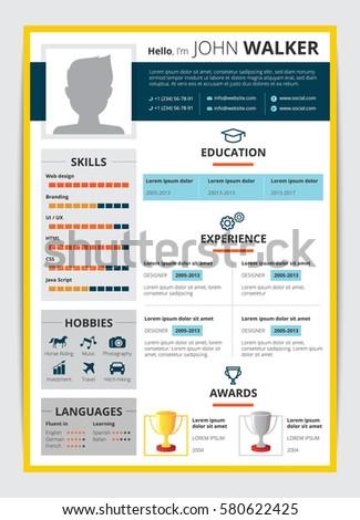 cv template male candidate education job のベクター画像素材