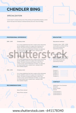 CV Template Minimalist Resume Web Page Stock Vector Royalty Free