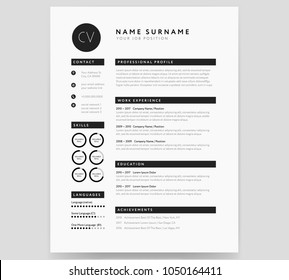 CV template modern professional sample in minimalist style black and white vector
