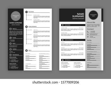 Cv templates. Professional resume letterhead, cover letter business layout job applications, personal description profile vector stylish modern presentation set