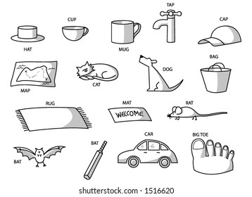 CVC drawings of animals and objects (consonant-vowel-consonant)