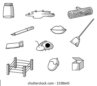 CVC drawings of objects and an insect (consonant-vowel-consonant)