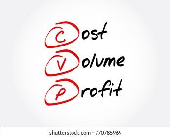 CVP – Cost Volume Profit acronym, business concept background