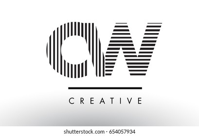 CW C W Black and White Letter Logo Design with Vertical and Horizontal Lines.