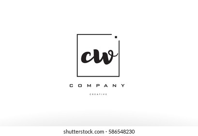cw c w hand writing written black white alphabet company letter logo square background small lowercase design creative vector icon template