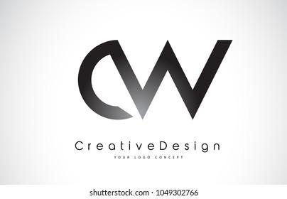 CW C W Letter Logo Design in Black Colors. Creative Modern Letters Vector Icon Logo Illustration.