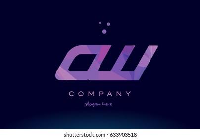 cw c w polygon polygonal letter alphabet text pink purple dots creative company logo vector icon design template