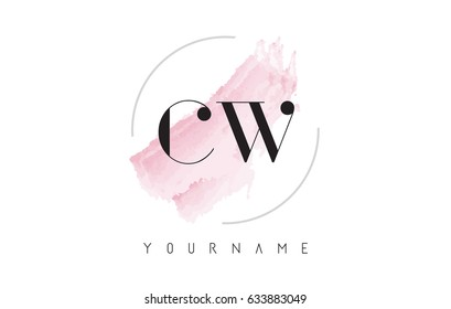 CW C W Watercolor Letter Logo Design with Circular Shape and Pastel Pink Brush.