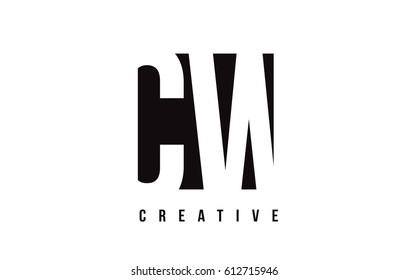 CW C W White Letter Logo Design with Black Square Vector Illustration Template.