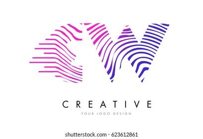 CW C W Zebra Letter Logo Design with Black and White Stripes Vector