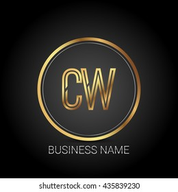 CW golden initial circle logo for company