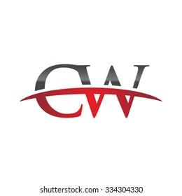CW initial company red swoosh logo