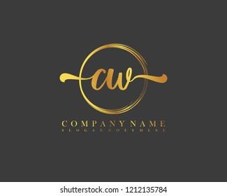 CW initial handwriting logo circle template vector