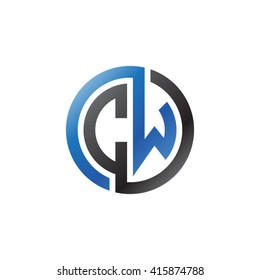 CW initial letters linked circle logo blue black