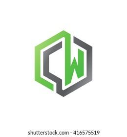 CW initial letters loop linked hexagon logo black gray green