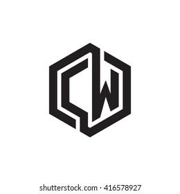 CW initial letters loop linked hexagon monogram logo