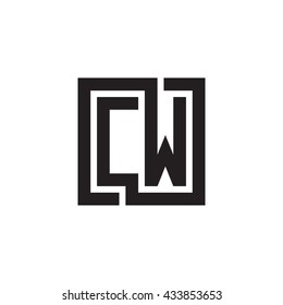 CW initial letters looping linked square monogram logo