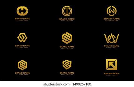 CW initial logo design, Gold color, CW logo, CW Letter Logo Design Template Vector EPS