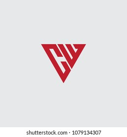 cw initial logo vector, triangle