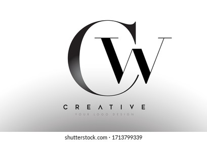 CW cw letter design logo logotype icon concept with serif font and classic elegant style look vector illustration.